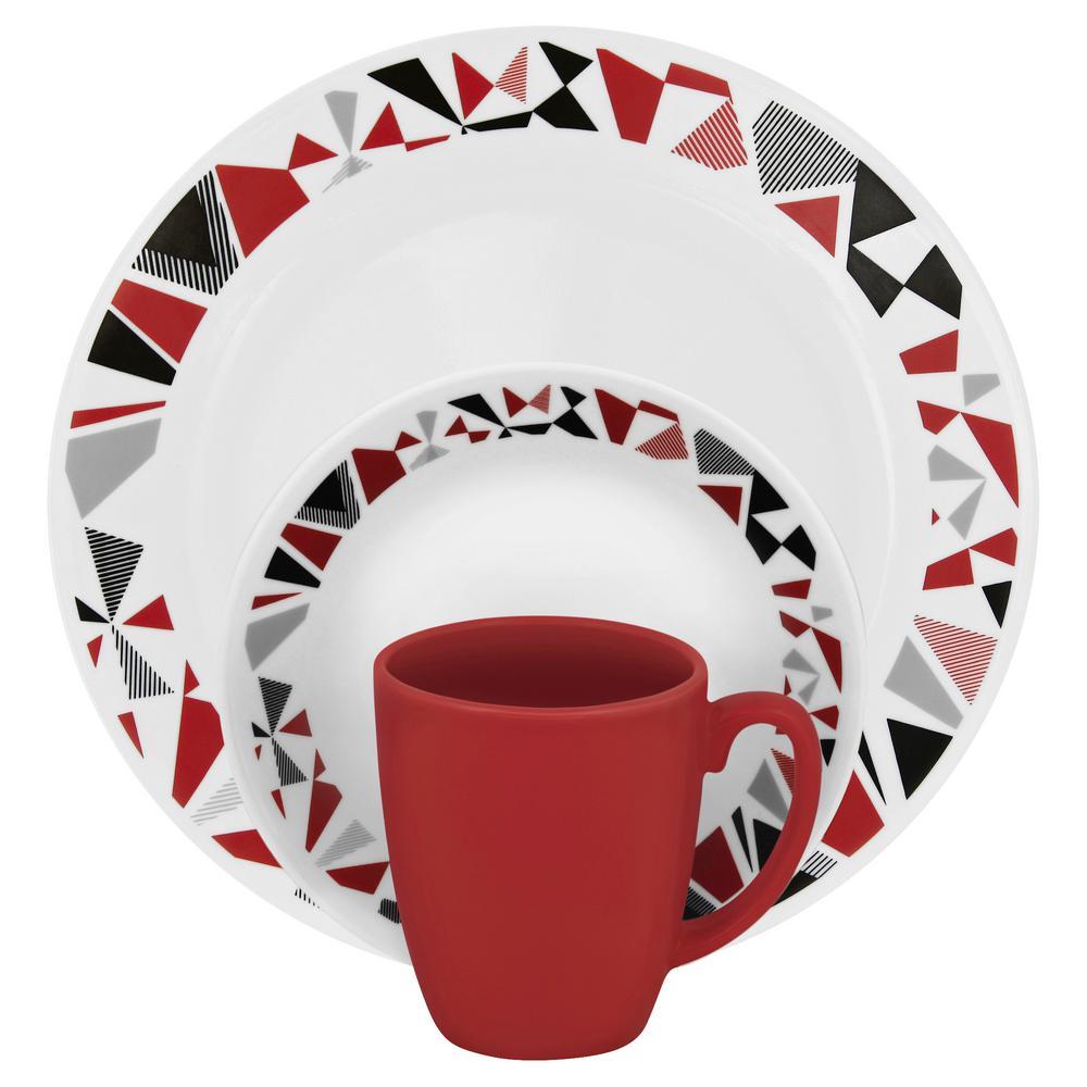 Corelle Classic 16-Piece Mosaic Red Dinnerware Set 1119375