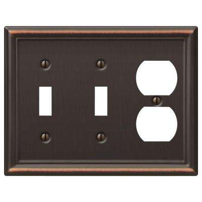 Chelsea 2 Toggle and 1 Duplex Wall Plate - Aged Bronze