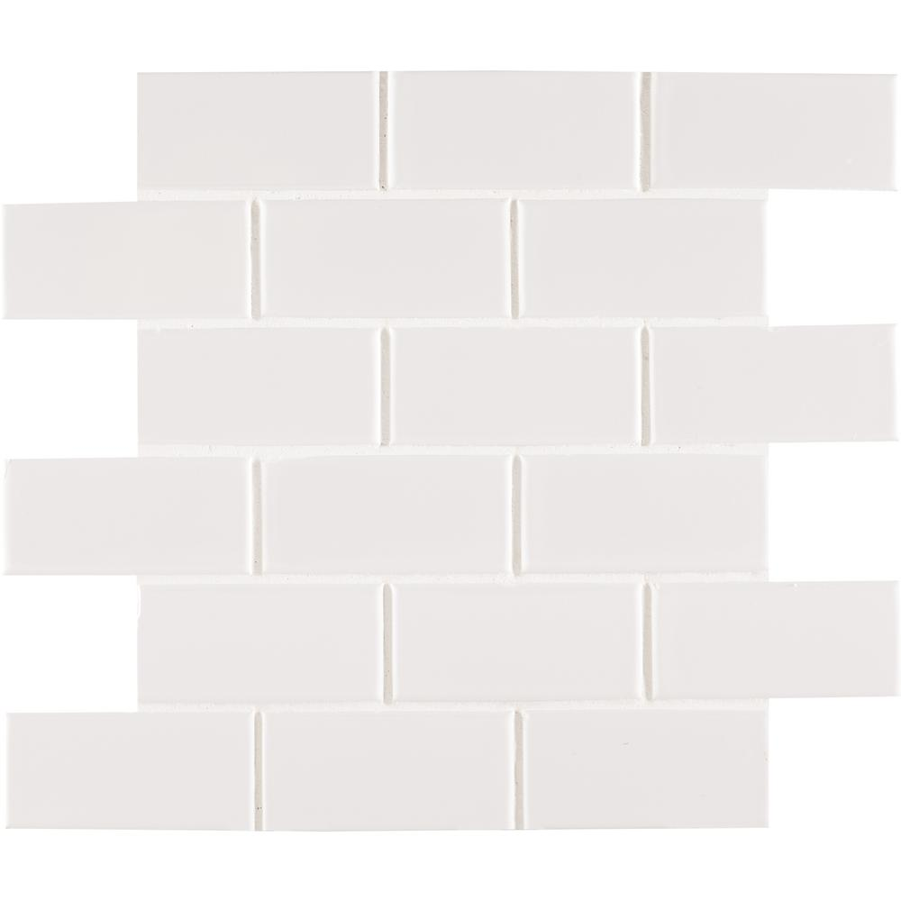White Glossy Staggered 12 in. x 12 in. x 6 mm