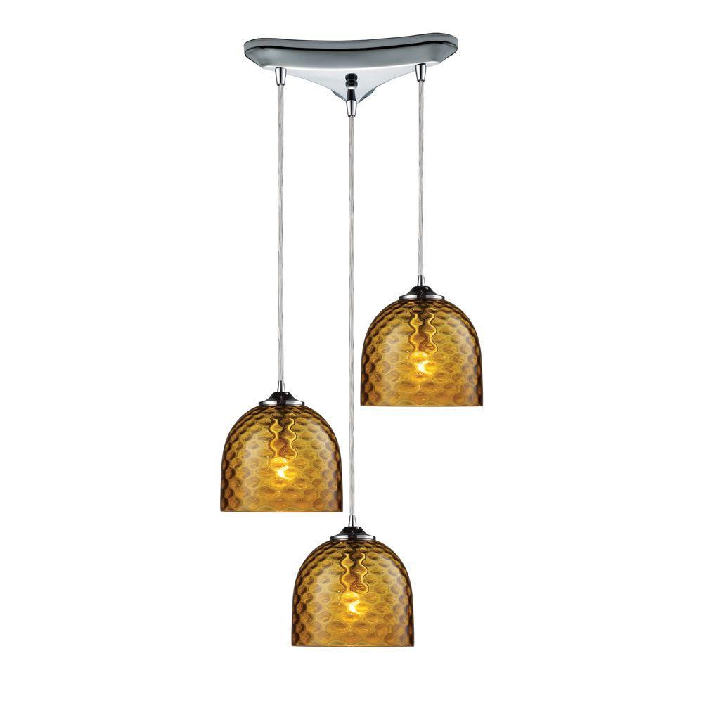 Titan Lighting Viva 3-Light Satin Nickel Ceiling Pendant