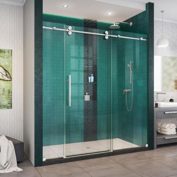 Enigma-XO 68-72 in. W x 76 in. H Fully Frameless Sliding Shower Door in Polished Stainless Steel