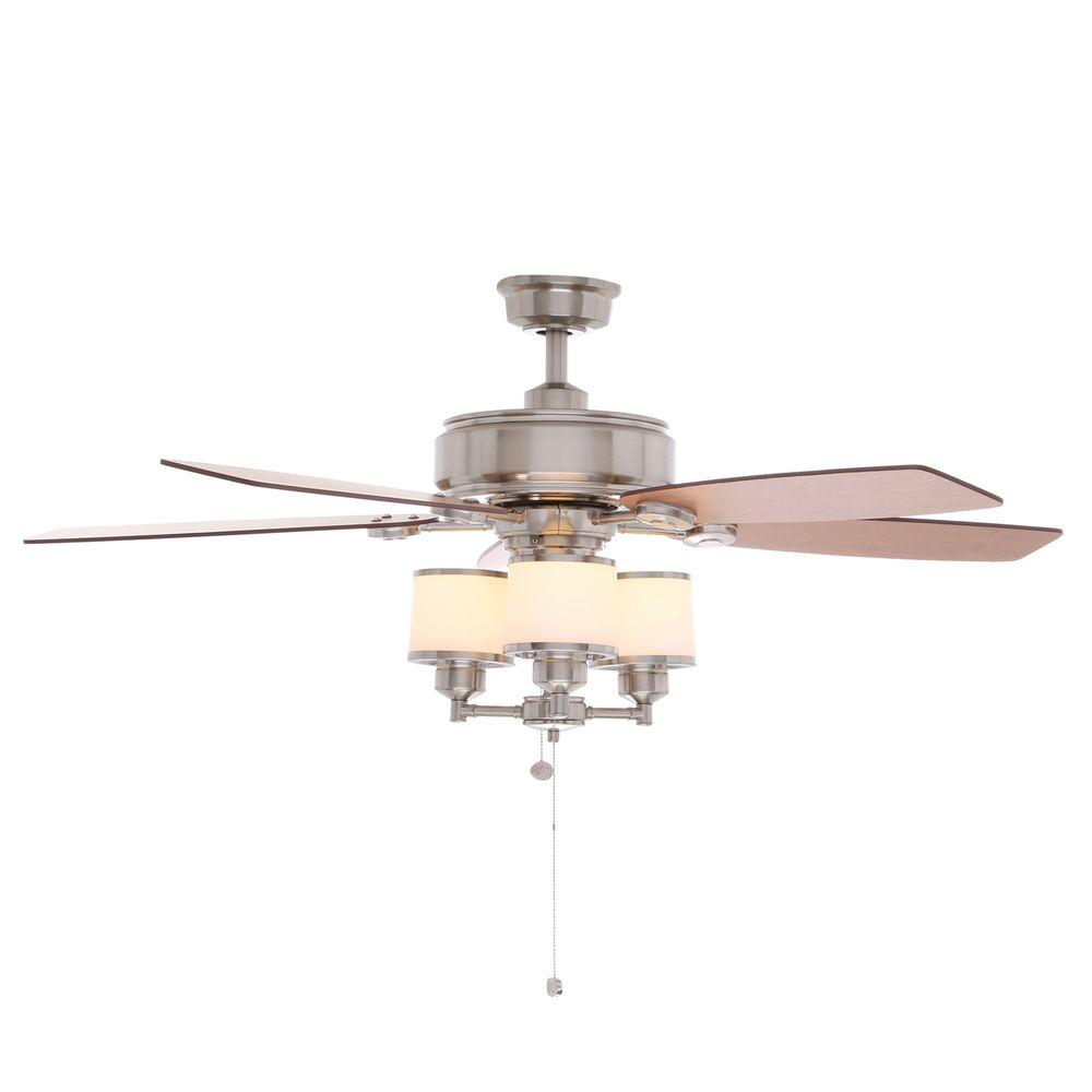 Hampton Bay Waterton Ii 52 In Indoor Brushed Nickel Ceiling Fan With Light Kit