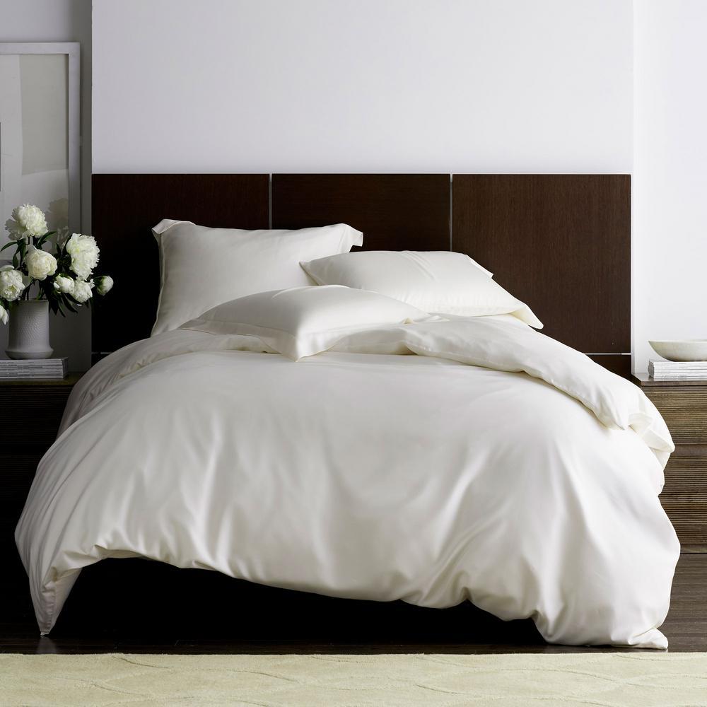 Legends Hotel Ivory TENCEL Lyocell Sateen Queen Duvet Cover