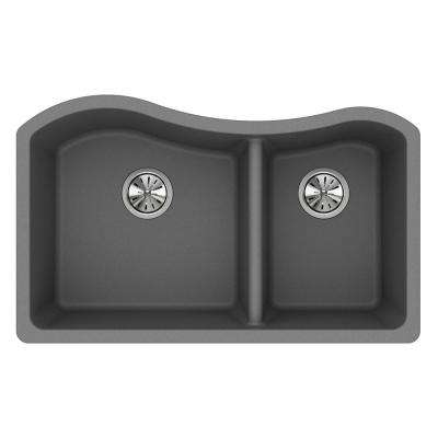 Quartz Classic Undermount Composite 33 in. Double Bowl Kitchen Sink in Greystone