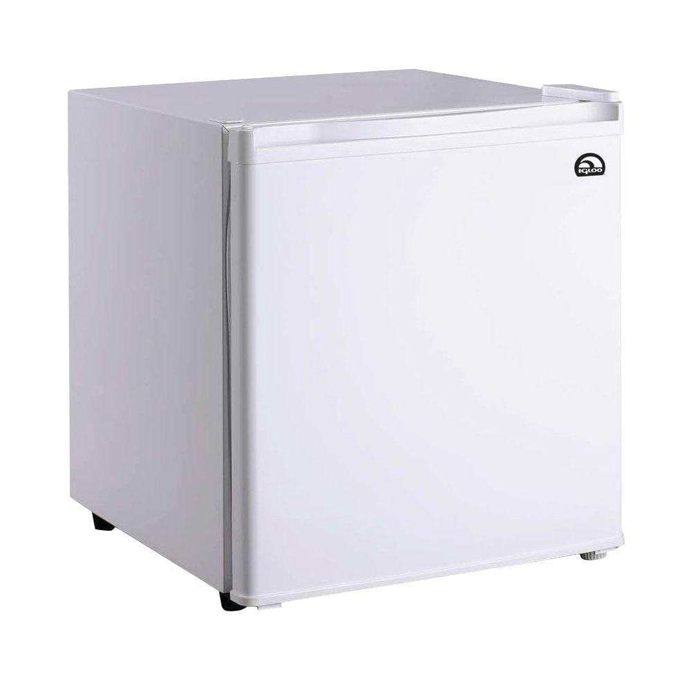 IGLOO 1.6 cu. ft. Mini Refrigerator in White The IGLOO 1.6 cu. ft. Mini Refrigerator is roomy enough for your groceries but small and sleek enough to fit almost anywhere. A slide-out shelf provides efficient storage options and adds to its unique style. Designed for energy efficiency, this mini fridge includes an ice cube chamber and features a reversible door that can be set up to open from either the left or right side. The flush-back design and invisible door handle offer a clean and elegant appearance that looks great in your home, in a dorm or at the office. Color: White.