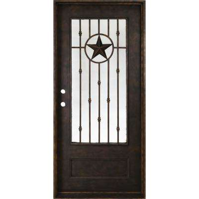 37.5 in. x 81 in. Texas Star Antique Rubbed Bronze Right-Hand Inswing Painted Decorative Iron Prehung Front Door