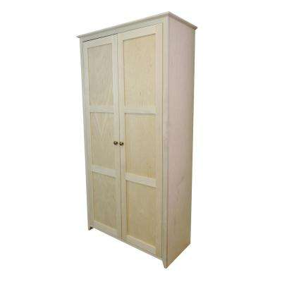 Shaker Style Unfinished 37.5 in. Wide 2-Door 6-Shelf Pantry Storage Cabinet