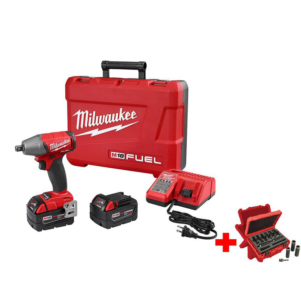 Milwaukee M18 FUEL 18-Volt Lithium-Ion Brushless 1/2 in. Compact Impact Wrench with Pin Detent Kit Impact Socket Set (9-Piece)