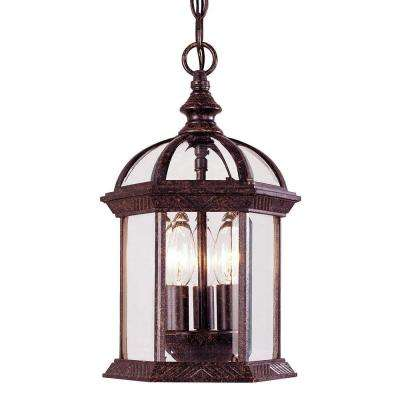 Rustic Bronze 3-Light Hanging Lantern with Clear Beveled Glass