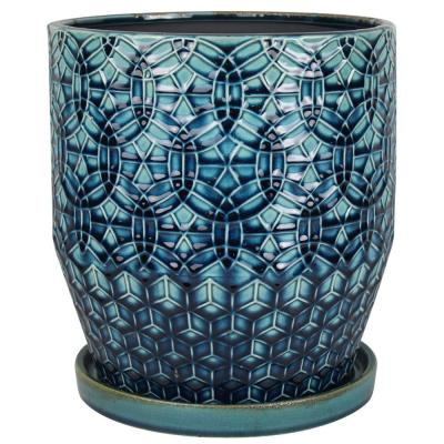 10 in. Dia Blue Rivage Ceramic Planter