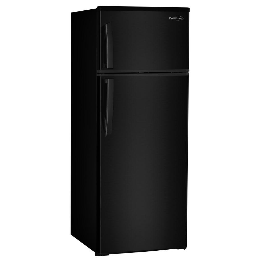PREMIUM 7.4 cu. ft. Top Freezer Refrigerator in Black, Counter Depth PREMIUM 7.4 cu. ft. Top Freezer Refrigerator in Black, Counter Depth