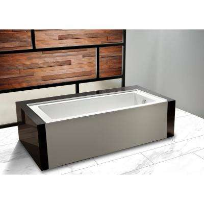 60 in. Acrylic right Hand Drain Rectangular Alcove Apro Front Non-Whirlpool Bathtub in White