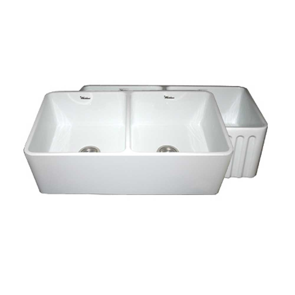 Whitehaus Collection Reversible Farmhaus Series A Front Fireclay 33 In Double Bowl Kitchen Sink