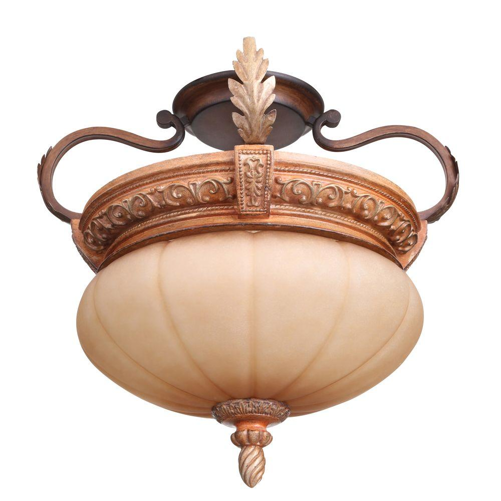 Hampton Bay Chateau Deville 2-Light Walnut Semi-Flush Mount Ceiling Fixture