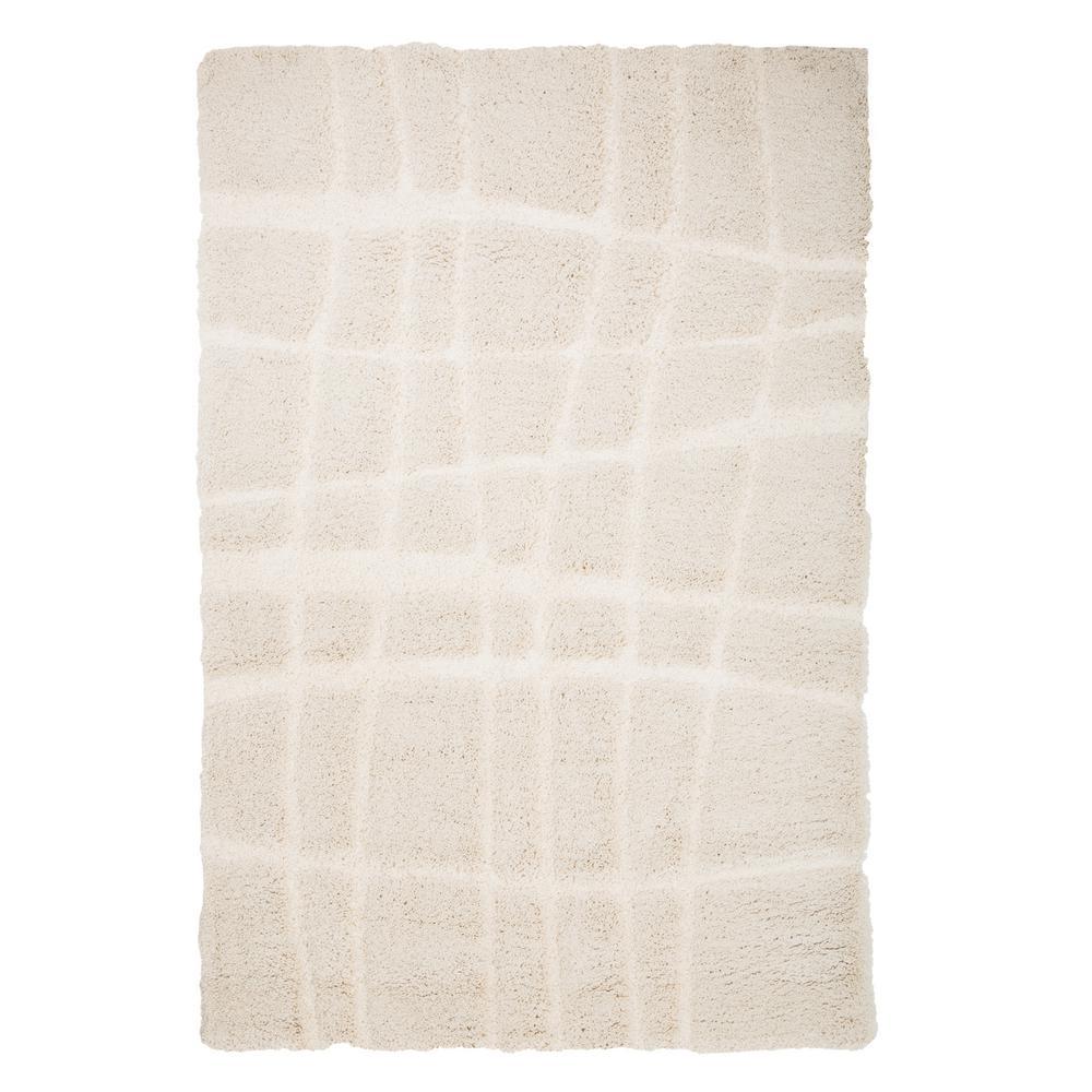 Everest Shag Stripes Cream 5 ft. x 7 ft. 7 in. Area Rug