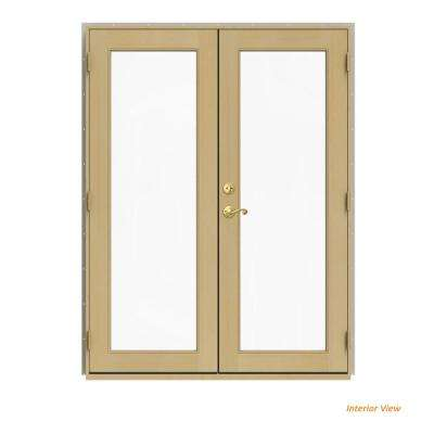 60 in. x 80 in. W-2500 Desert Sand Clad Wood Left-Hand Full Lite French Patio Door w/Unfinished Interior
