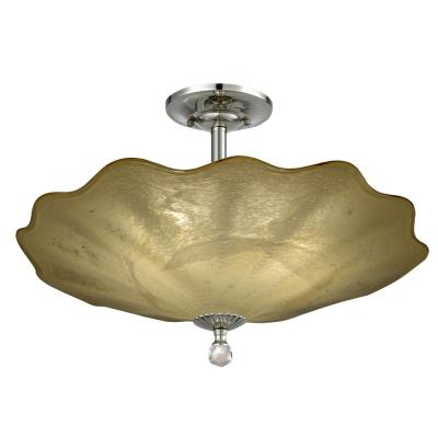Beige Feather 12 in. Polished Chrome Flush Mount/Semi Flush Mount with Hand Blown Art Glass Shade