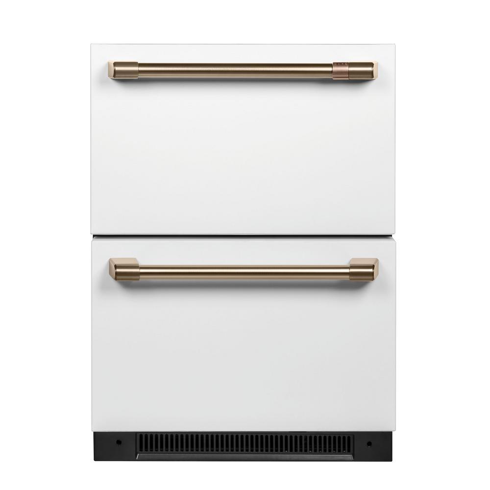 Cafe 5.7 cu. ft. Built-in Undercounter Dual Drawer Refrigerator in Matte White, Fingerprint Resistant