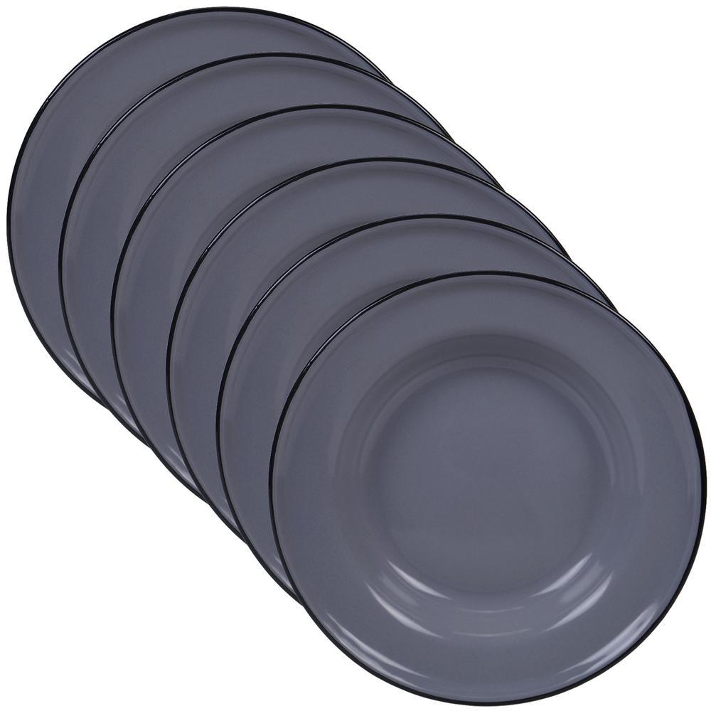 Enamelware 6-Piece Traditional Grey Ceramic 8 in. Salad/Dessert Plate Set (Service for 6)