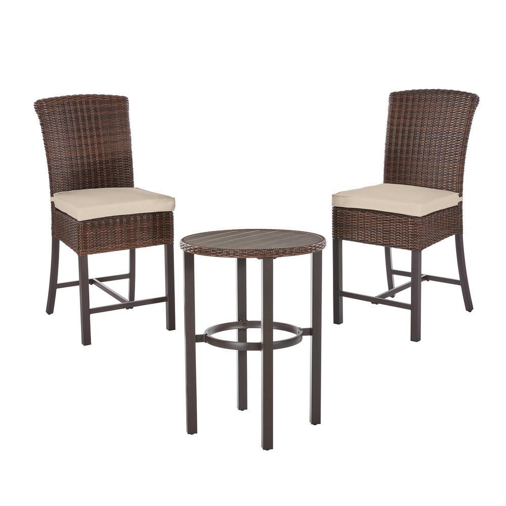 Harper Creek Brown 3-Piece Steel Outdoor Patio Bar Height Dining Set with Sunbrella Beige Tan Cushions