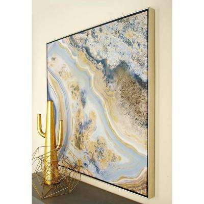 40 in. Marbling Color Field Framed Canvas Wall Art