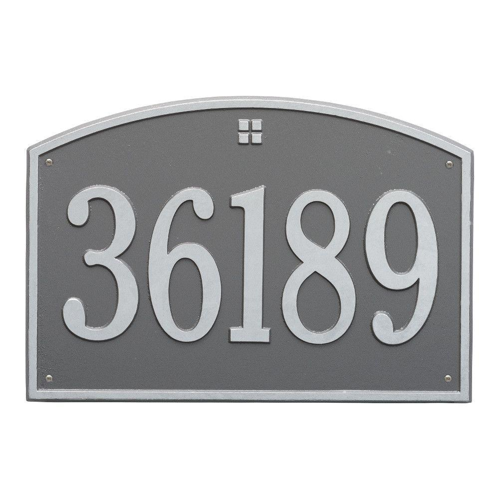 Cape Charles Rectangular Estate Pewter/Silver Wall 1-Line Address Plaque