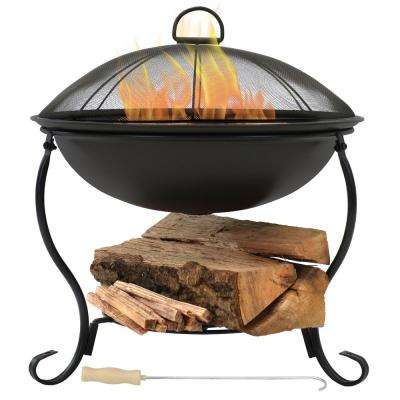18.75 in. W x 19 in. H Round Steel Wood Burning Fire Pit in Black with Spark Screen and Built-in Log Holder