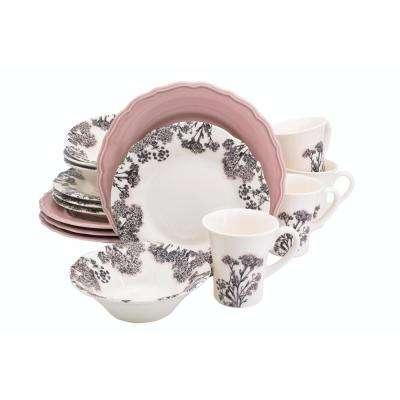 Savannah 16-Piece Pink Dinnerware Set