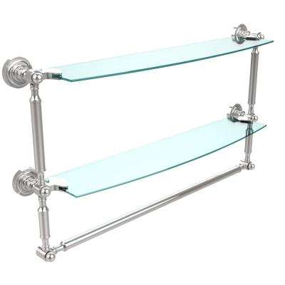 Dottingham 24 in. L  x 15 in. H  x 5 in. W 2-Tier Clear Glass Bathroom Shelf with Towel Bar in Polished Chrome