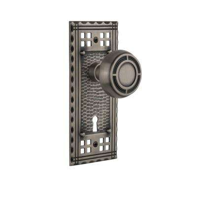 Craftsman Plate with Keyhole Single Dummy Mission Door Knob in Antique Pewter