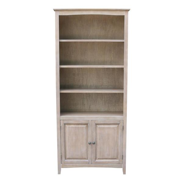 International Concepts Weathered Taupe Gray Shaker Bookcase with Doors