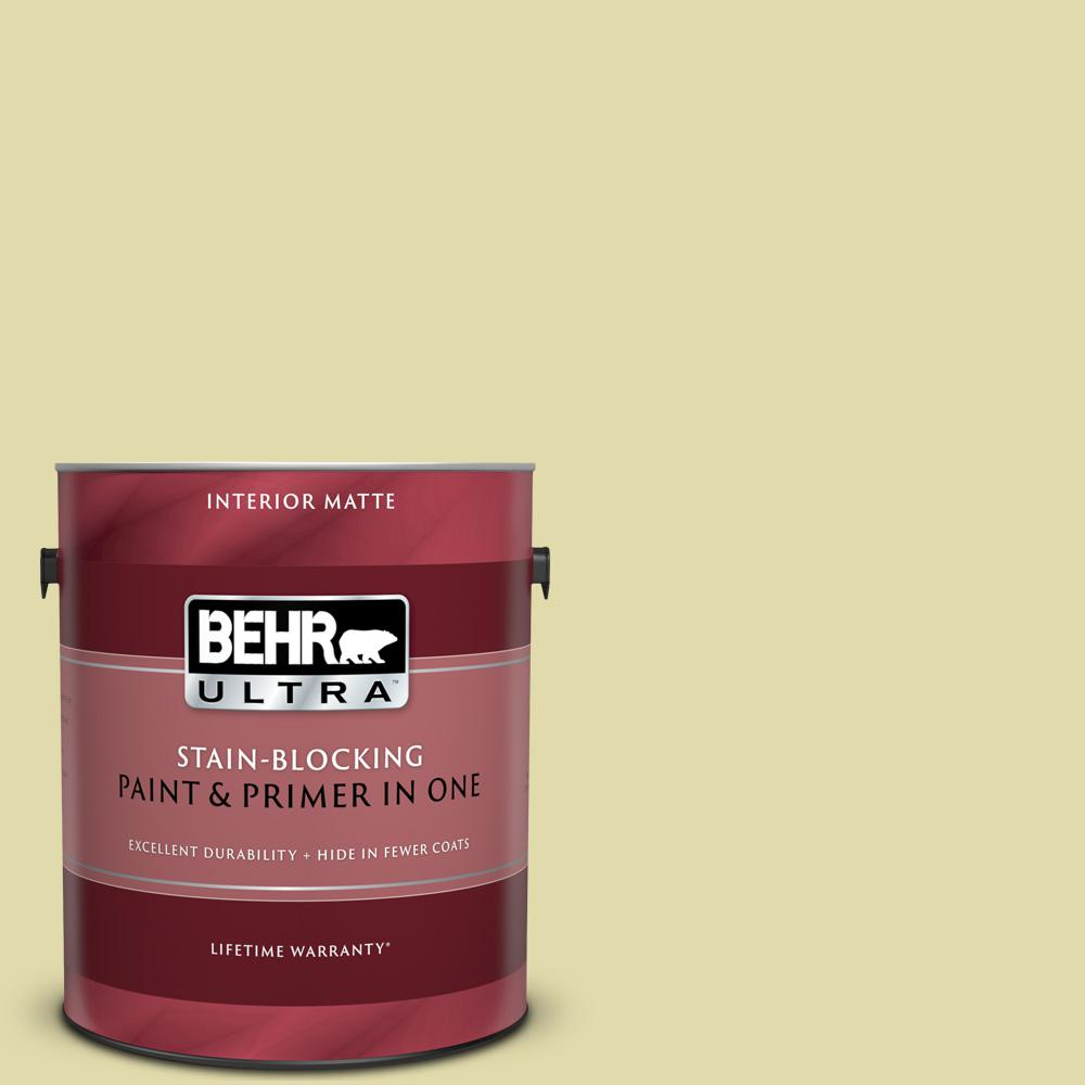 Behr Ultra 1 Gal 400c 3 Dried Palm Matte Interior Paint And Primer In One 175001 The Home Depot