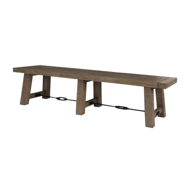 18 in. Distressed Gray Handcrafted Reclaimed Wood Dining Bench with Grains