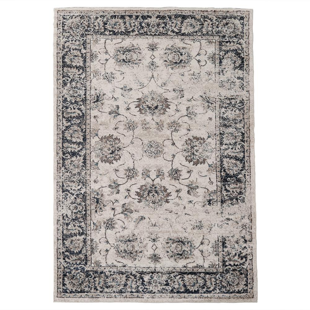 Lnc Navy Blue Brown 5 Ft X 8 Distressed Area Rug