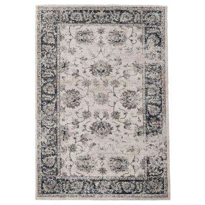 Navy Blue/Brown 6.5 ft. x 9 ft. Distressed Area Rug