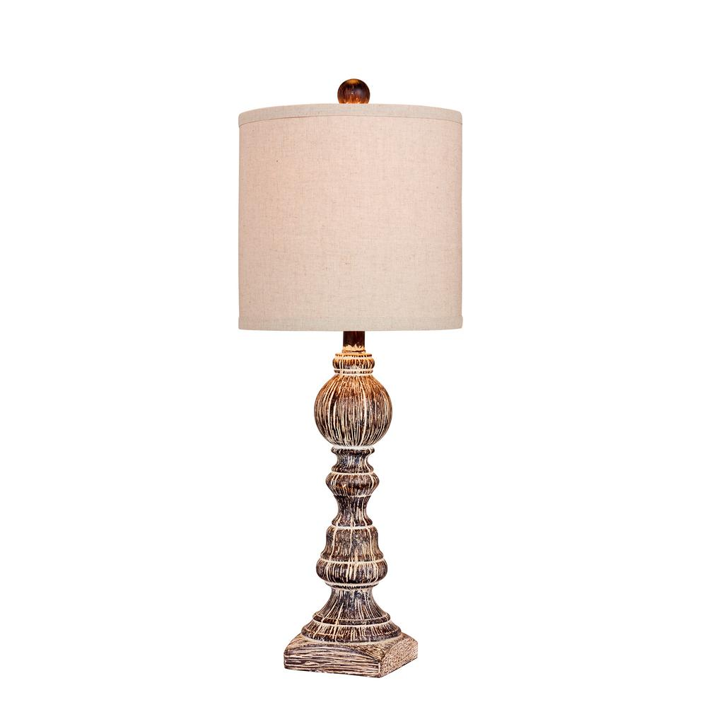 fangio lighting 26 in distressed balustrade resin table lamp in a rh homedepot com country cottage table lamps cottage bedside table lamps
