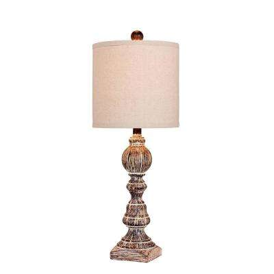 26 in. Distressed Balustrade Resin Table Lamp in a Cottage Antique Brown