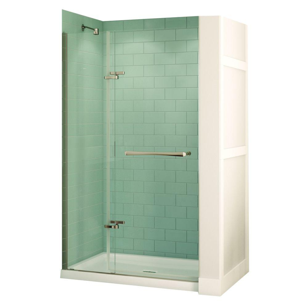 MAAX Reveal 32 in. x 48 in. x 74-1/2 in. Alcove Standard Shower Kit in Chrome with Base in White - Center Drain