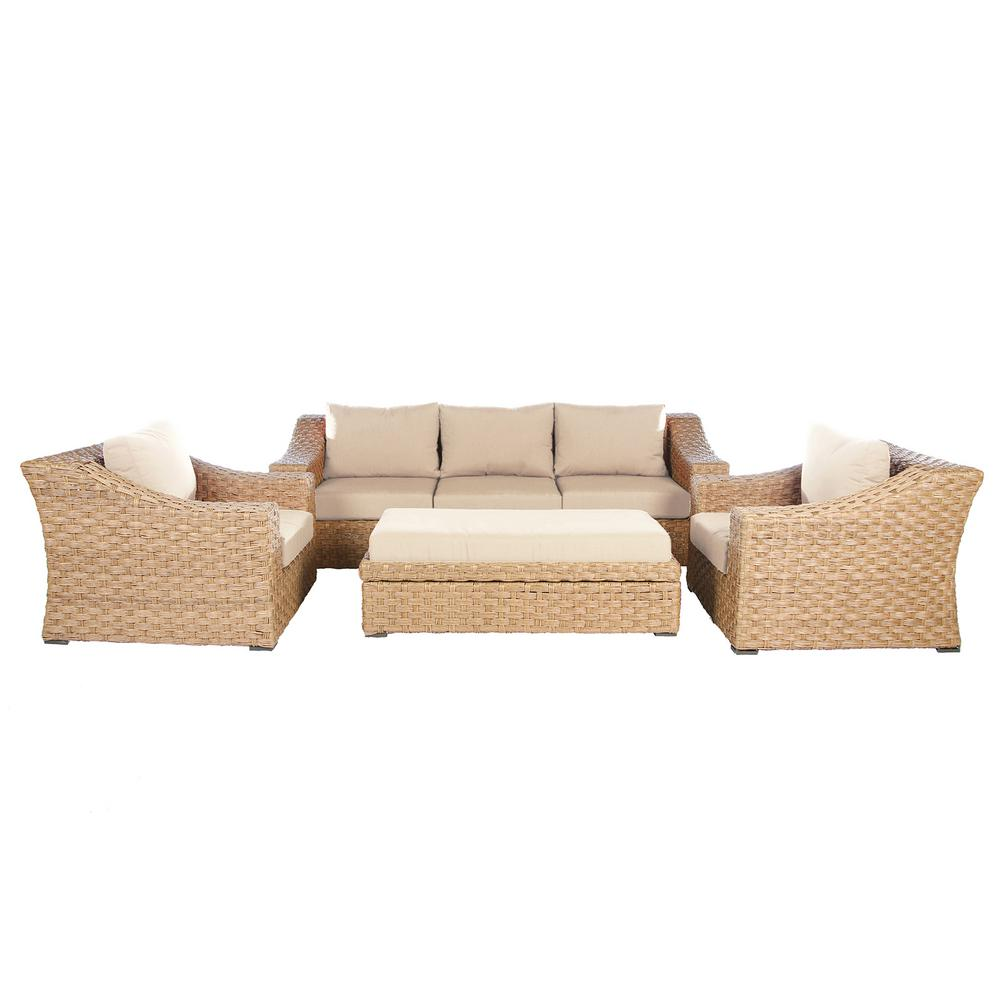 Elizabeth 6-Piece Wicker Patio Deep Seating Set with Cast-Ash Cushions