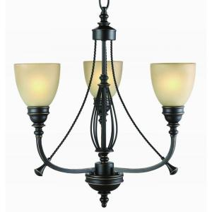 Commercial Electric 3-Light Bronze Chandelier with Tea Stained Glass Shades by Commercial Electric