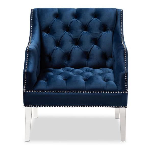 Baxton Studio Silvana Navy Blue and Clear Fabric Accent Chair 152-9267-HD