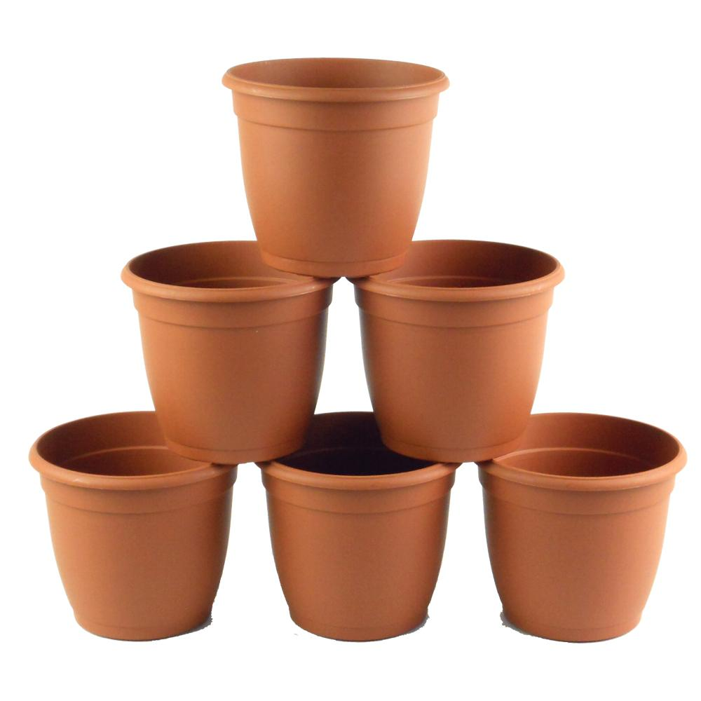 TEKU 5.5 in D Terra Cotta Flower Pot (6-pack)