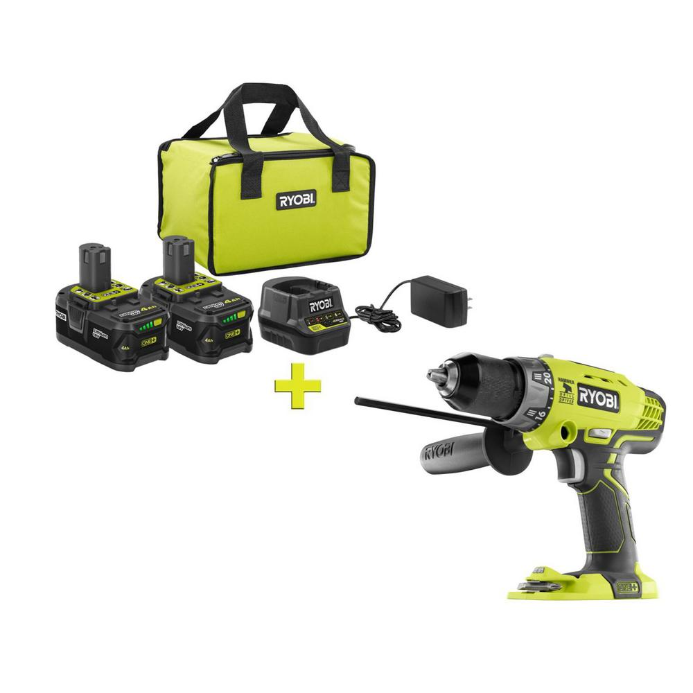 RYOBI 18-Volt ONE+ High Capacity 4.0 Ah Battery (2-Pack) Starter Kit with Charger and Bag with FREE ONE+ 1/2 in. Hammer Drill was $291.0 now $99.0 (66.0% off)