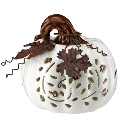 6 in. Harvest White Pumpkins with White LED Battery Operated