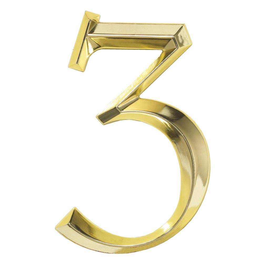 Whitehall Products Classic 6 in. Polished Brass Number 3 ...