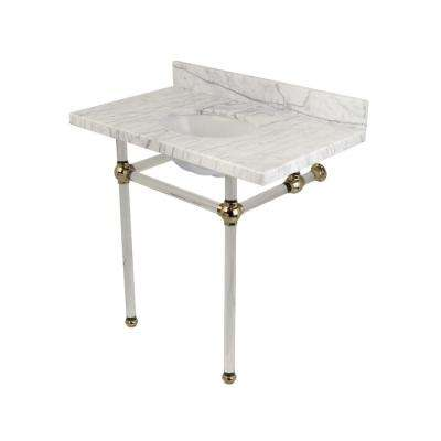 Washstand 36 in. Console Table in Carrara Marble White with Acrylic Legs in Polished Nickel
