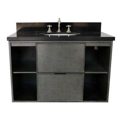 Scandi III 37 in. W x 22 in. D Wall Mount Bath Vanity in Gray with Granite Vanity Top in Black with White Oval Basin