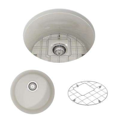 Sotto Undermount Fireclay 18.5 in. Single Bowl Round Kitchen Sink with Bottom Grid and Strainer in Biscuit