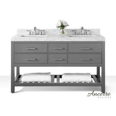 Elizabeth 60 in. W x 22 in. D Vanity in Sapphire Gray with Marble Vanity Top in Carrera White with White Basins