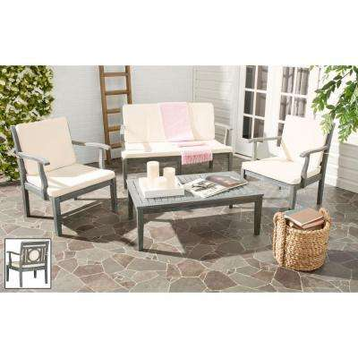 Montclair Ash Gray 4-Piece Patio Seating Set with Beige Cushions